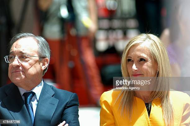 Real Madrid President Florentino Perez and President of the regional government of Madrid Cristina Cifuentes is seen during championship celebration...