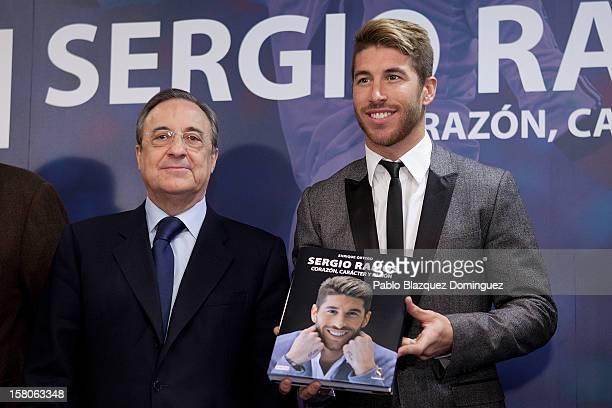 Real Madrid President Florentino Perez and Real Madrid football player Sergio Ramos presents new book 'Sergio Ramos. Corazon, Caracter y Pasion' at...