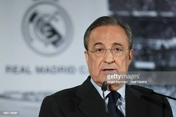 Real Madrid president Florentino Perez attends a press conference to announce the departure of head coach Jose Mourinho at the end of the season at...