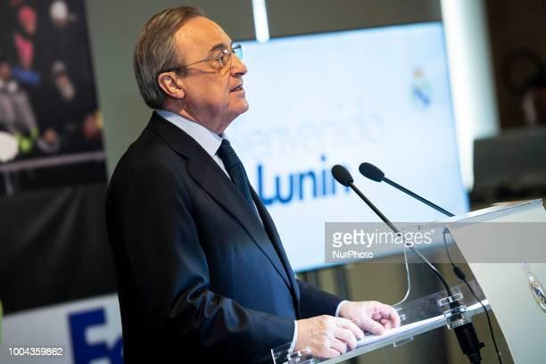 Real Madrid president Florentino Perez during presentation of Andriy Lunin as new Real Madrid player at Santiago Bernabéu Stadium in Madrid Spain...