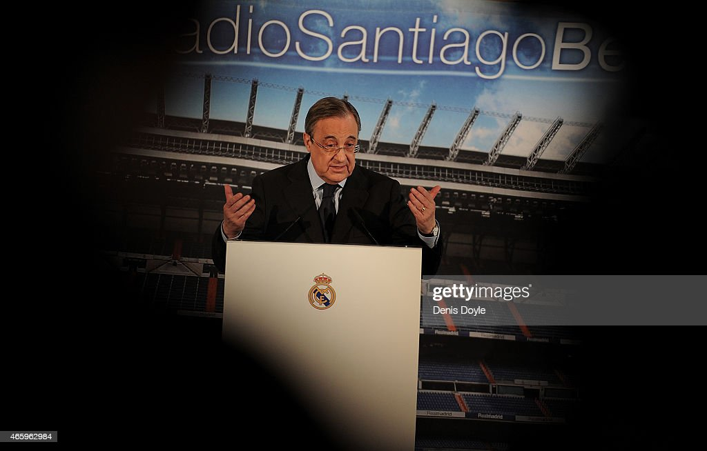 Real Madrid President Florentino Perez holds a press conference at the Santiago Bernabeu stadium on March 12, 2015 in Madrid, Spain. Perez appealed for more objectivity in reporting on the Spanish powerhouse from some members of the press after a recent dip in form.