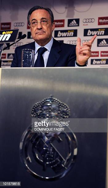 Real Madrid President Florentino Perez holds a press conference to announce the end of the Chilean coach Manuel Pellegrini's contract and to announce...