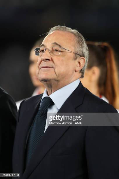 Real Madrid President Florentino Perez looks on at the end of the FIFA Club World Cup UAE 2017 final match between Gremio and Real Madrid CF at Zayed...