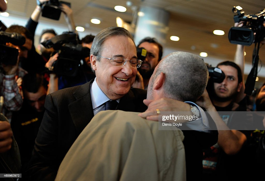 Real Madrid President Florentino Perez mingles with members of the press after holding a press conference at the Santiago Bernabeu stadium on March 12, 2015 in Madrid, Spain. Perez appealed for more objectivity in reporting on the Spanish powerhouse from some members of the press after a recent dip in form.