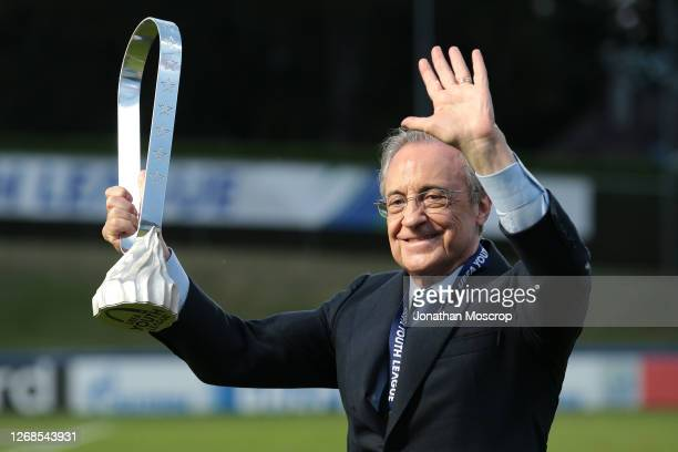 Real Madrid President Florentino Perez pictured with the trophy following Madrid's 3-2 victory in the UEFA Youth League Final against Benfica at...