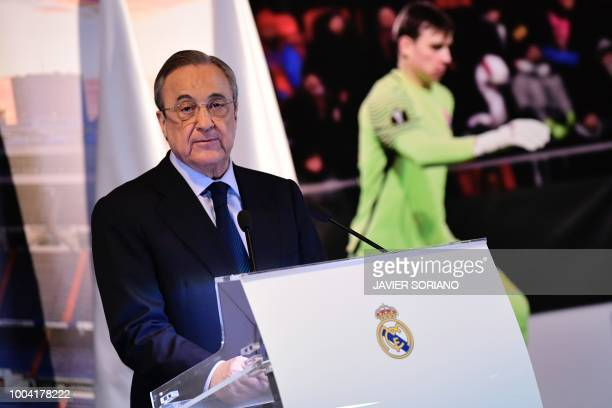 Real Madrid president Florentino Perez speaks during the official presentation of Real Madrid's new Ukrainian goalkeeper Andriy Lunin at the Santiago...