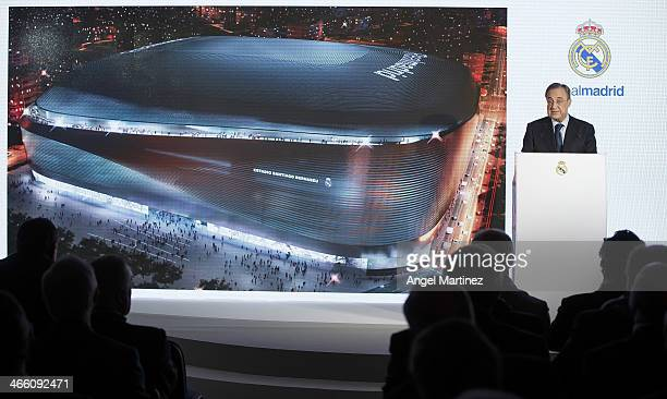 Real Madrid President Florentino Perez speaks during the presentation of the tender winners and the project details to build a new football stadium...
