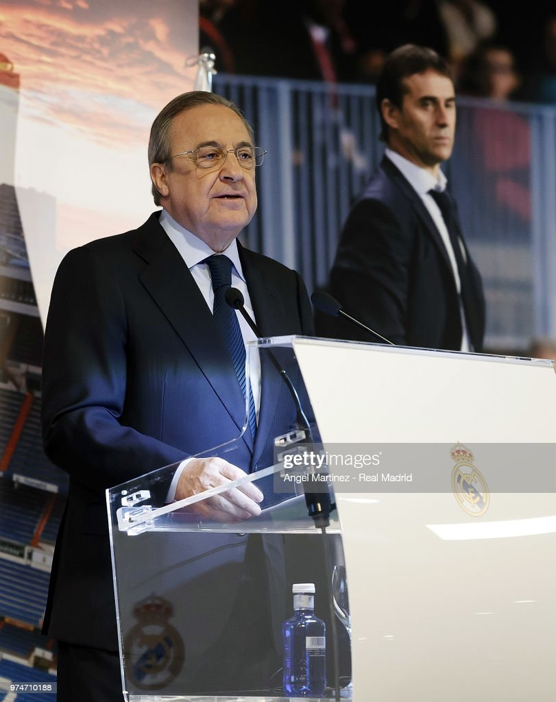 Real Madrid president Florentino Perez talks to the media during the presentation of the new Real Madrid head coach Julen Lopetegui at Santiago Bernabeu stadium on June 14, 2018 in Madrid, Spain.