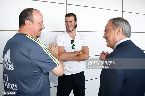 Real Madrid President Florentino Perez Welcomes Back the Players to Pre-Season Training at Valdebebas training ground on July 9, 2015 in Madrid,...