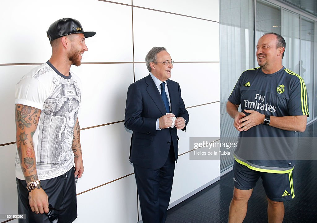 Real Madrid President Florentino Perez Welcomes Back the Players to Pre-Season Training : News Photo