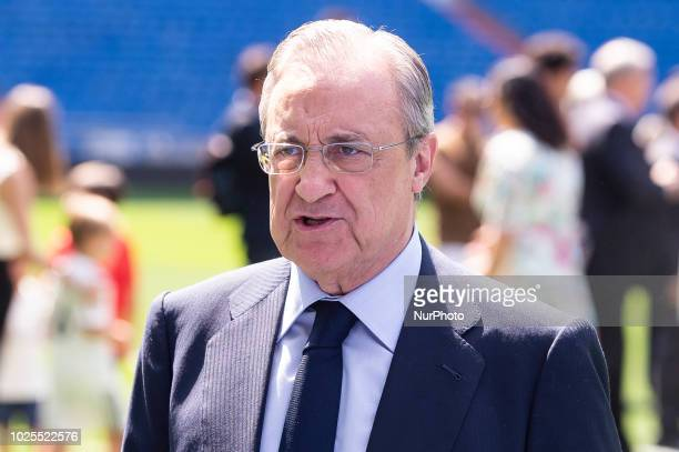 Real Madrid president Florentino Pérez during the presentation of Mariano Diaz as new Real Madrid player at Santiago Bernabeu Stadium in Madrid Spain...