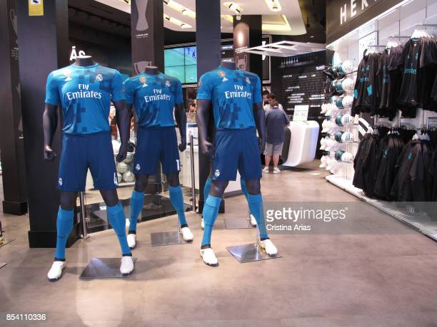 Real Madrid second equipment for the season 20172018 on sale in the of Real Madrid Office Store in Gran Via street in Madrid on 22 July Spain