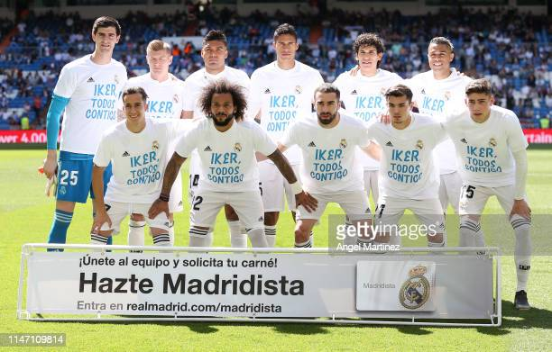 Real Madrid send a message to former team mate Iker Casillas prior to the La Liga match between Real Madrid CF and Villarreal CF at Estadio Santiago...