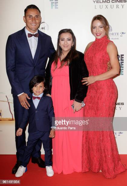 Real Madrid soccer player Keylor Navas wife Andrea Salas and family attend the 'Hombre de Fe' premiere at Luxury cinema on May 22 2018 in San...