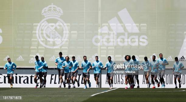 Real Madrid squad during training at Valdebebas training ground on May 14, 2021 in Madrid, Spain.