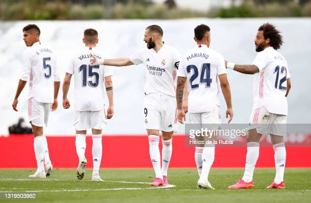 Real Madrid squad in action during the La Liga Santander match between Real Madrid and Villarreal CF at Estadio Santiago Bernabeu on May 22, 2021 in...