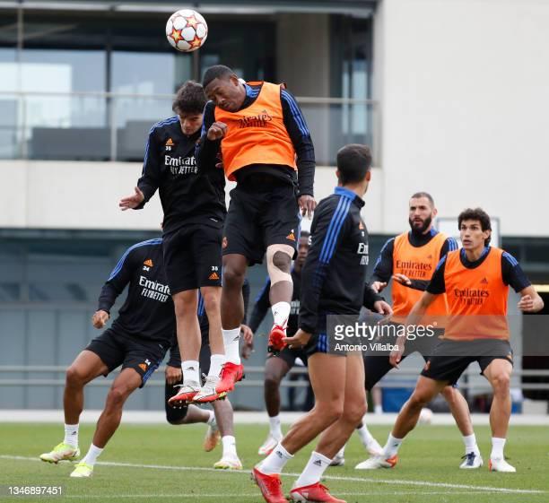 Real Madrid squad is training at Valdebebas training ground on October 16, 2021 in Madrid, Spain.