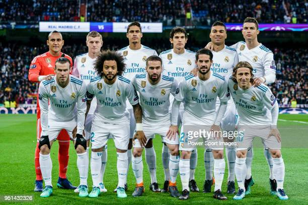 Real Madrid squad poses for photos prior to the UEFA Champions League 201718 quarterfinals match between Real Madrid and Juventus at Estadio Santiago...