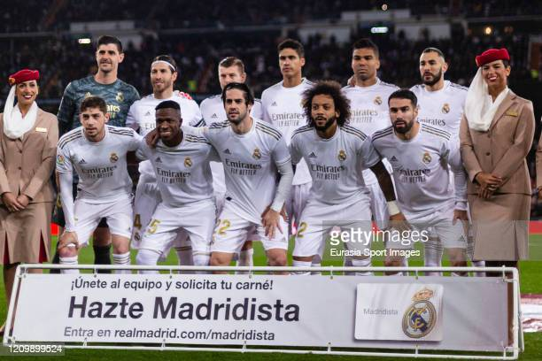 Real Madrid squad poses for team photo with Goalkeeper Thibaut Courtois, Sergio Ramos, Toni Kroos, Raphael Varane, Carlos Casemiro, Karim Benzema,...