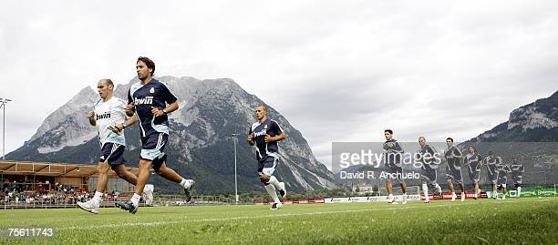 Real Madrid squad run with Raul Gonzalez leading during a Real Madrid training session on July 24 2007 in Irdning Austria
