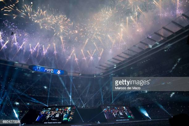Real Madrid Stadium Santiago Bernabeu during the celebration of the 12th Champions League title