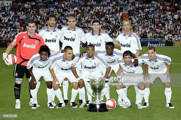 Real Madrid starting lineup pose before the La Liga match between Real Madrid and Atletico Madrid at the Santiago Bernabeu stadium on August 25 2007...