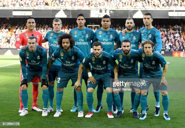 Real Madrid starting XI line up prior to the La Liga match between Valencia and Real Madrid at Estadio Mestalla on January 27 2018 in Valencia Spain
