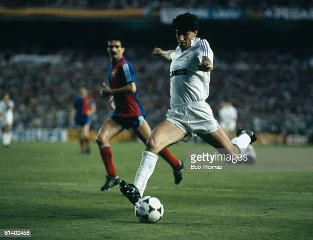 Real Madrid striker Michel takes a shot during the UEFA Cup Final 2nd leg against Videoton at the Bernabeu Stadium in Madrid May 22nd 1985 Real...