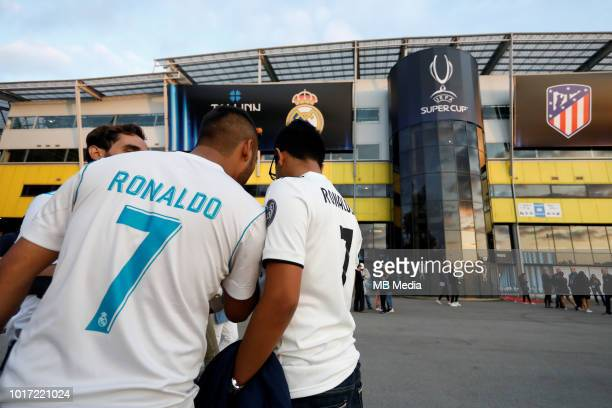 Real Madrid supporters at the venue ahead of the UEFA Super Cup match between Real Madrid and Atletico Madrid at Lilleküla Stadium on August 15 2018...