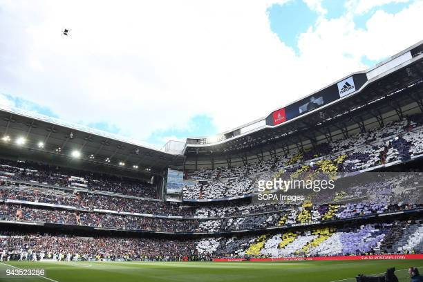 Real Madrid supporters seen before the game between Real Madrid and Atletico de Madrid FC at Estadio Santiago Bernabeu. .