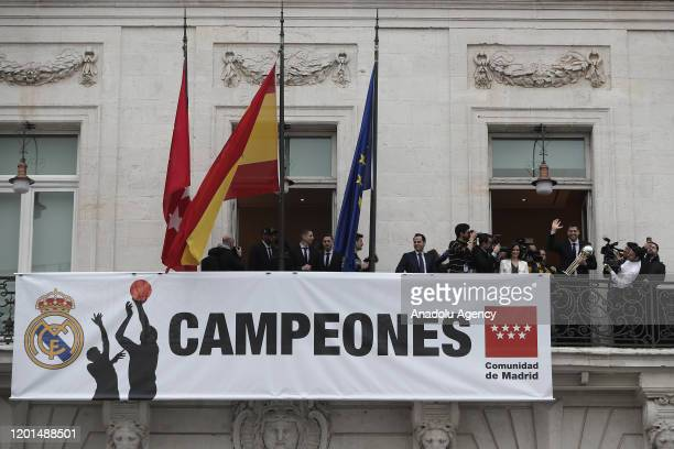 Real Madrid team captain Felipe Reyes addresses to citizens as President of Real Madrid Club Florentino Perez Head coach of Real Madrid basketball...