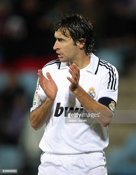 Real madrid team captain Raul Gonzalez applauds his teammates during the La Liga match between Getafe and Real Madrid at the Coliseum Alfonso Perez...