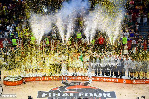Real Madrid team celebrates after the 2018 Turkish Airlines EuroLeague F4 Championship Game between Real Madrid v Fenerbahce Dogus Istanbul at Stark...