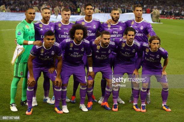Real Madrid Team during the UEFA Champions League Final match between Real Madrid and Juventus at National Wales Stadium in Cardiff Wales on June 03...