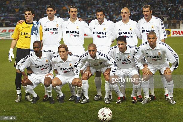Real Madrid team group taken before the Spanish Primera Liga match between Espanyol and Real Madrid held on February 2 2003 at the Olimpico de...