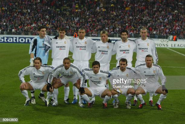 Real Madrid team group taken before the UEFA Champions League match between Bayern Munich and Real Madrid at The Olympic Stadium on February 24 2004...