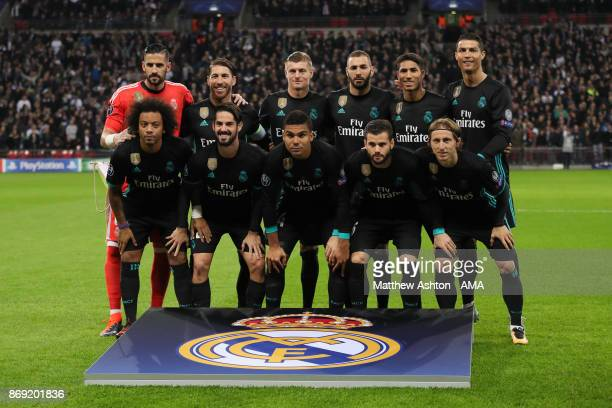 Real Madrid Team group the first time the club have played at Wembley Stadium in London during the UEFA Champions League group H match between...