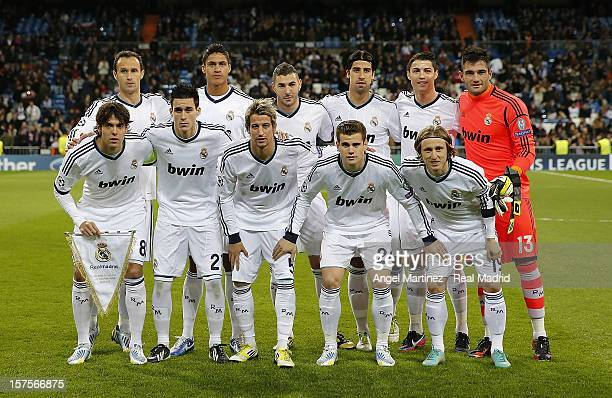 Real Madrid team line up before the UEFA Champions League Group D match between Real Madrid and Ajax Amsterdam at Estadio Santiago Bernabeu on...