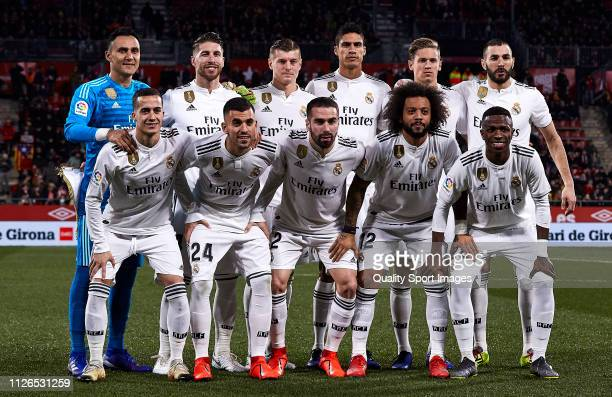 Real Madrid team line up look on prior before the Copa del Rey second leg Quarter Final match between Girona FC and Real Madrid at Montilivi Stadium...