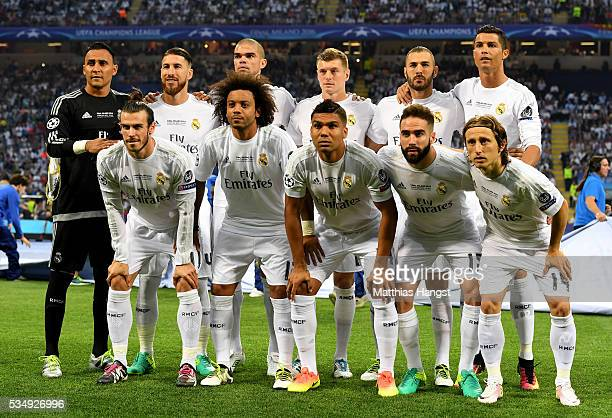 Real Madrid team line up prior to the UEFA Champions League Final match between Real Madrid and Club Atletico de Madrid at Stadio Giuseppe Meazza on...