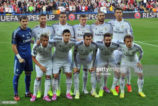 Real Madrid team Real Madrid's goalkeeper Iker Casillas Real Madrid's defender Sergio Ramos Real Madrid's Portuguese defender Pepe Real Madrid's...