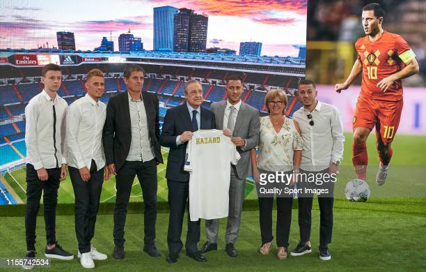 Real Madrid Unveil New Signing Eden Hazard with his family at Estadio Santiago Bernabeu on June 13 2019 in Madrid Spain