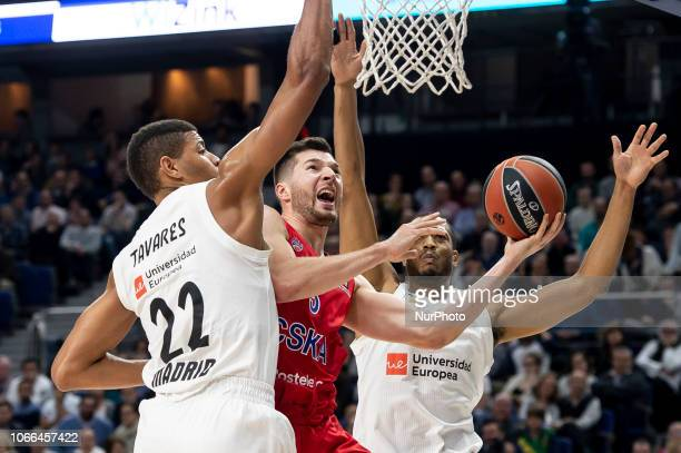 Real Madrid Walter Tavares and Trey Thompkins and CSKA Moscow Alec Peters during Turkish Airlines Euroleague match between Real Madrid and CSKA...