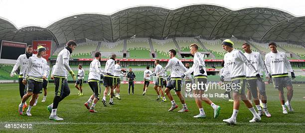 Real Madrid warm up during a training session at AAMI Park training ground on July 22, 2015 in Melbourne, Australia.