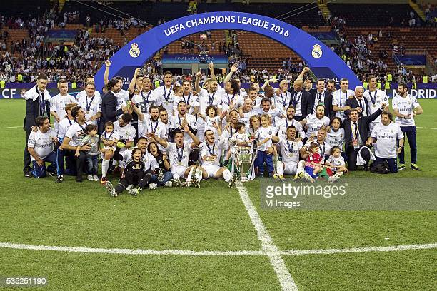 Real Madrid winner of UEFA Champions League 2015 2016 with Champions League trophy Coupe des clubs Champions Europeeens Cristiano Ronaldo of Real...