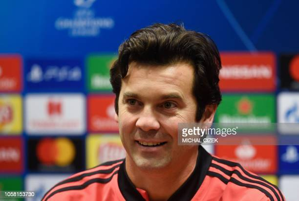 Real Madrid's Argentinian coach Santiago Solari addresses a press conference on the eve of the UEFA Champions League group G football match Viktoria...