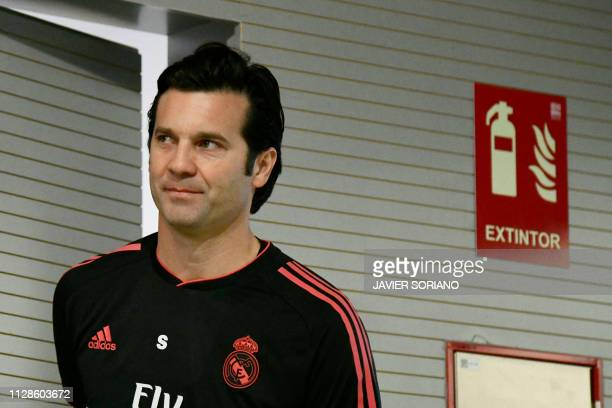 Real Madrid's Argentinian coach Santiago Solari arrives for a press conference at the Valdebebas training complex in the outskirts of Madrid, on...
