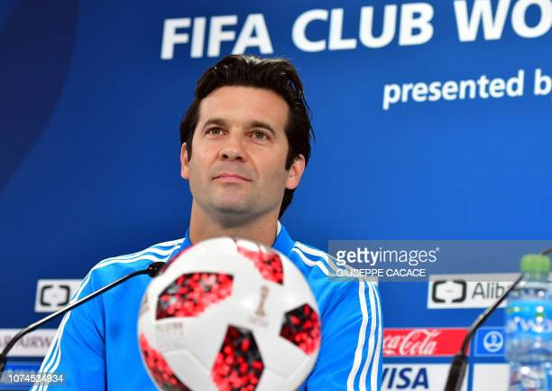Real Madrid's Argentinian coach Santiago Solari attends a press conference on the eve of their FIFA Club World Cup final match against AlAin in the...