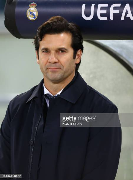 Real Madrid's Argentinian coach Santiago Solari looks on during the UEFA Champions League football match AS Roma vs Real Madrid CF at the Olimpico...