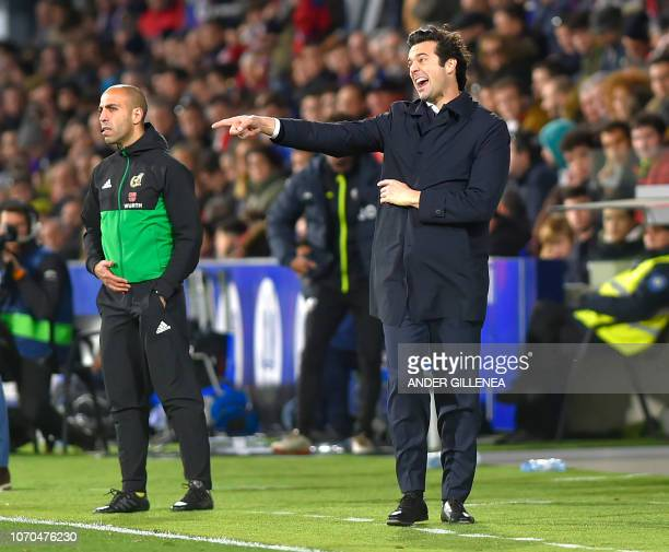 Real Madrid's Argentinian coach Santiago Solari shouts instructions during the Spanish league football match between SD Huesca and Real Madrid CF at...